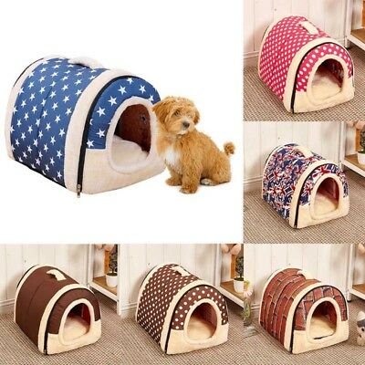 UK Pet Dog Cat Bed House Winter Puppy Warm Kennel Cave Nest Pad Cushion Washable