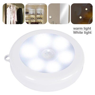 4X 6LED Auto Motion Sensor Infrared Toilet Night Light Cabinet Stair Lamp MY