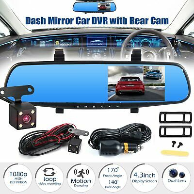 7″ HD 1080P Car DVR Dual Lens Rear View Mirror Video Camera Recorder Dash Cam