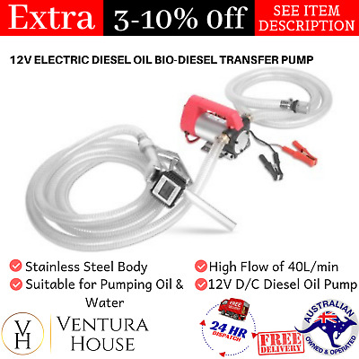 12 Volt Fuel Transfer Pump Portable Stainless Steel New Electric Diesel Oil Pump