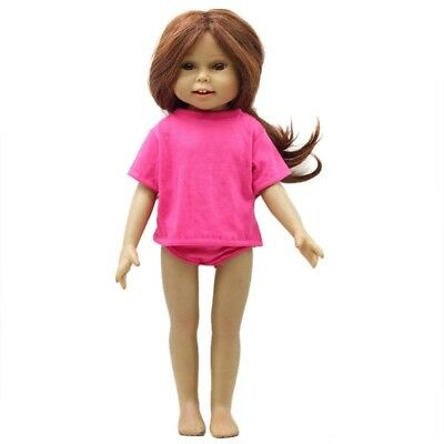 (Hot Pink) - AMOFINY 2PC New Dolls Solid T-shirt And Briefs Set DIY American