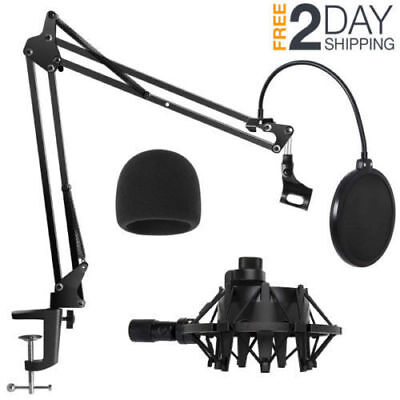 Microphone Boom Arm Desk Stand With Pop Filter Shock Mount For Blue Yeti Pro