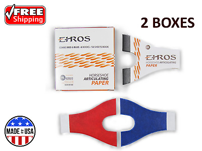 HORSESHOE ARTICULATING PAPER RED/BLUE COMBO 12 Books/12 Sheets each = 144 Sheets
