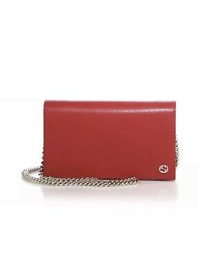 3ca286cd9e1608 GUCCI WOC BLACK Leather GG Crossbody Wallet on Chain Bag Purse NEW ...