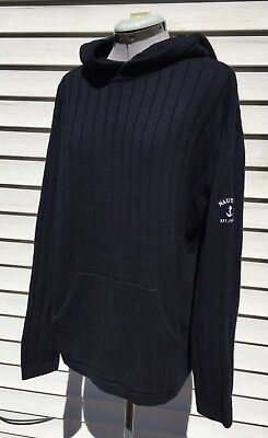 d2a4bafbdb Nautica Wool Cable Knit Sweater Medium Hoodie Pullover Navy Blue Patch  Pockets