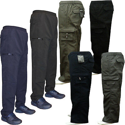 Mens Fleece Lined Thermal Elasticated Cargo Combat Work Trousers Pants Bottoms