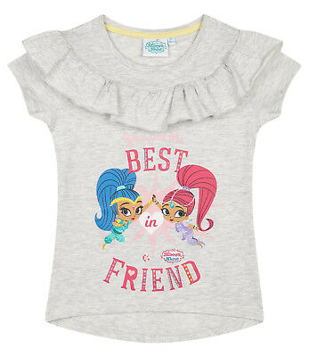 Girls Kids Official Shimmer And Shine Grey Short Sleeve T Shirt Top