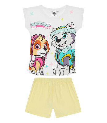 Girls Kids Official Paw Patrol Skye & Everest White Short Sleeve Pyjamas PJs