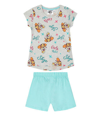 Girls Kids Official Paw Patrol Skye Grey / Blue Short Sleeve Pyjamas PJs