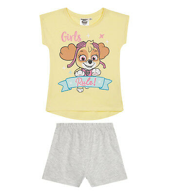Girls Kids Official Paw Patrol Skye Yellow / Grey Short Sleeve Pyjamas PJs
