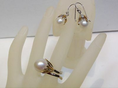 NATURAL BAROQUE 13x11 WHITE PEARL 14 KGP 925 SILVER EARRING & RING #7