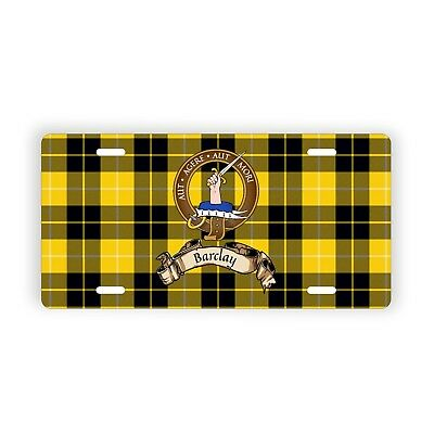 Barclay Scottish Clan Tartan Novelty Auto Plate with Crest and Motto