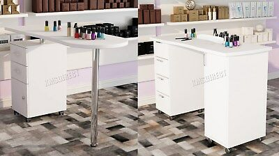 WestWood Manicure Table Nail Care Bar Hand Beauty Art Salon Desk Drawers White