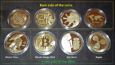 NEW Gold Plated Bitcoin Titan Bitcoin 2018 Star Wars Ripple  - 4pcs total