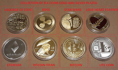 Bitcoin Ethereum Titan Lite Ripple Star Wars Valentin's Love coins - 8pcs total