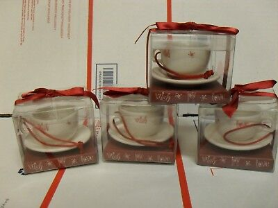 Lot of 4 Starbucks Ornament - White Cappucino Cup and Saucer 2005 (192168)