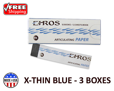 3 BOXES DENTAL ARTICULATING PAPER (EXTRA) X-THIN  BLUE  432 Sheets  MADE IN USA