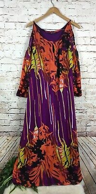 453a140c5a8 Ashley Stewart Multi Colored Cold Shoulder Maxi Dress Womens Plus Size 24