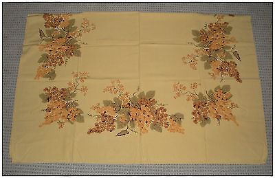 Vintage Used California Hand Prints Tablecloth, Gold & Green