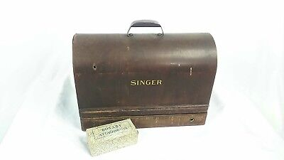 Vintage Singer Sewing Machine With Bentwood Case Extra Parts 1940's AF782151