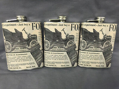 Set of 3 Vintage Car Ads Flask 8oz Stainless Steel Hip Drinking Whiskey