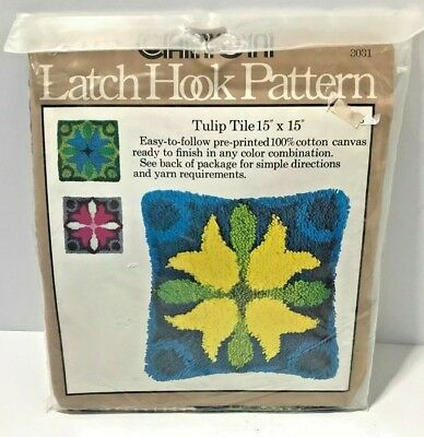 "CARON Tulip Tile Pillow Latch Hook Pattern 3031 Vintage 15"" x 15"" Sealed NEW"