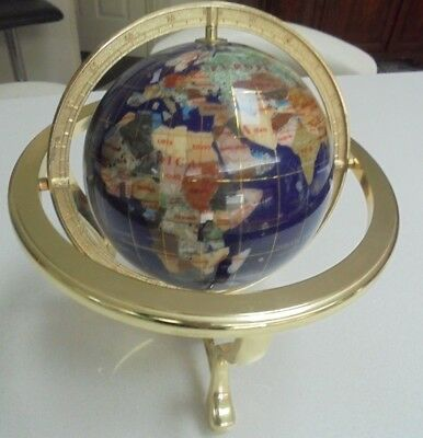 Blue Gemstone Mother of Pearl World Globe with Compass  Gold color stand