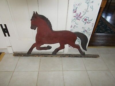 Early 1900S All Wooden Horse Sign Painted Red And Black From Old Barn East Coast