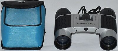 (524) National Trust 8X21 Binoculars (Silver & Black) With Blue Soft Case