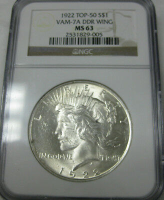 1922 Top-50 $1 VAM-7A DDR Wing NGC MS 63 Peace Dollar
