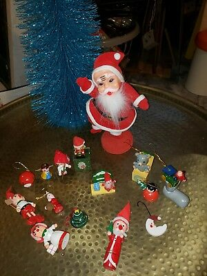 Vintage Dancing Santa  Christmas Flocked Figure Japan Ornament includes ornament