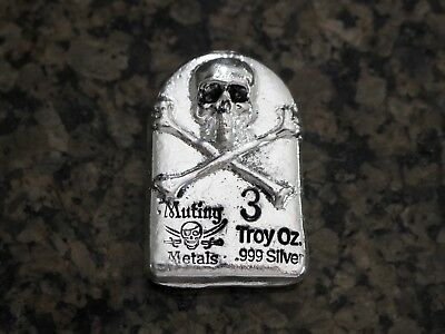 Mutiny Metals 3oz Hand Poured High Relief Silver Tombstone Bar, No Reserve!