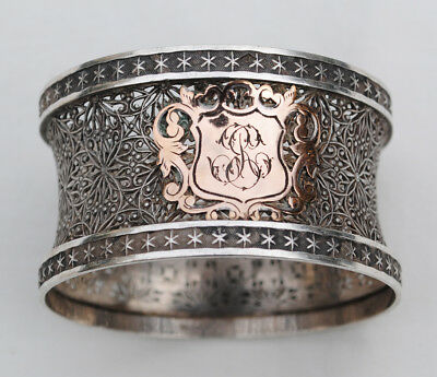 Antique French Sterling Silver Napkin Ring Pierced & Engraved Details