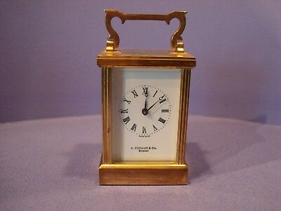 Fema London, Brass Carriage Clock, 11 Jewel Retailed By  A Chillcott Bristol