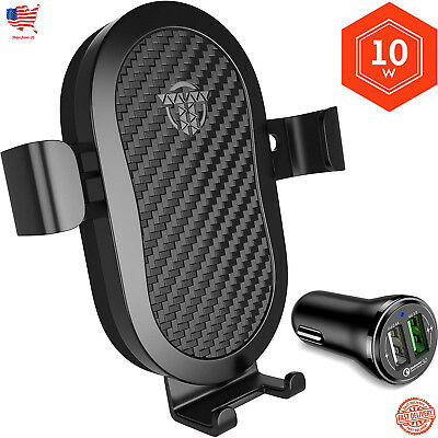 10W QI Wireless Fast Charger Car Mount Holder Stand For iPhone X Samsung S9 LG .