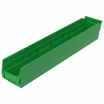 "Plastic Shelf Bin Nestable, 4-1/8""D x 23-5/8""D x 4""H Green, Lot of 12"