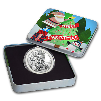 2019 1 oz Silver American Eagle BU - Holiday Tin, Santa's Tree - SKU#185333