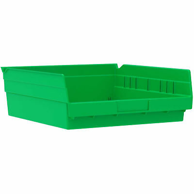 "Akro-Mils 30170 Plastic Shelf Bin Nestable - 11-1/8""W x 11-5/8""D x 4""H Green,"