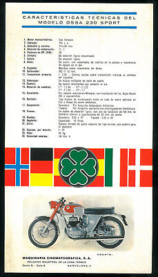 Prospectus Moto OSSA 230 SPORT Folleto Español Brochure Pub Catalogue Catalogo