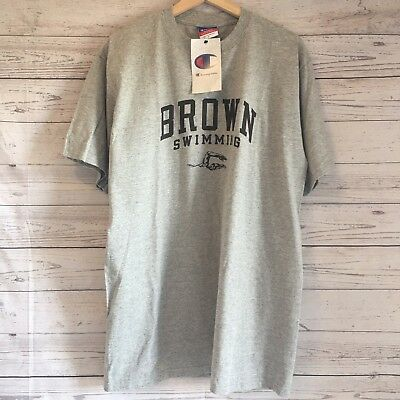 727f5f39 Brown University Mens Brown Swimming Champion T shirt Gray Short Sleeve  Size L