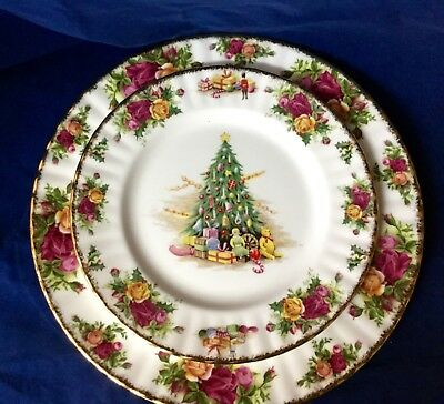 ROYAL ALBERT OLD COUNTRY ROSES CHRISTMAS MAGIC Sald Plate England Have 5