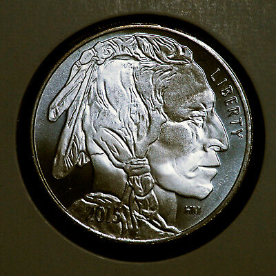 2015 Highland Mint Hm .999 Fine Silver Bu Indian Head Buffalo Bullion 1 Troy Oz.