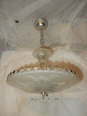 Antique frosted glass Original art deco light fixture ceiling chandelier 1940s