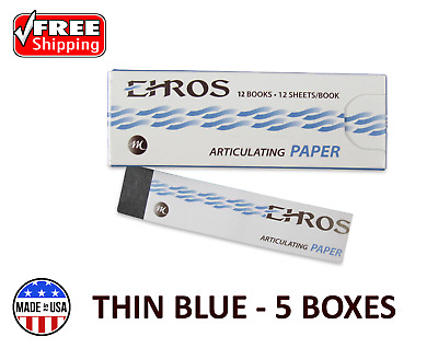 """5 BOXES DENTAL ARTICULATING PAPER THIN (0.003"""") BLUE  720 Sheets  MADE IN USA"""