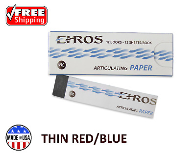 "DENTAL ARTICULATING PAPER THIN (0.003"") RED/BLUE 144 Sheets MADE IN USA"