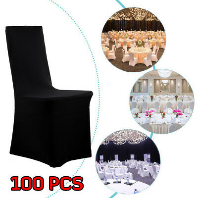 100PCS Elastic Stretch Spandex Black Armless Wedding Party Banquet Chair Covers