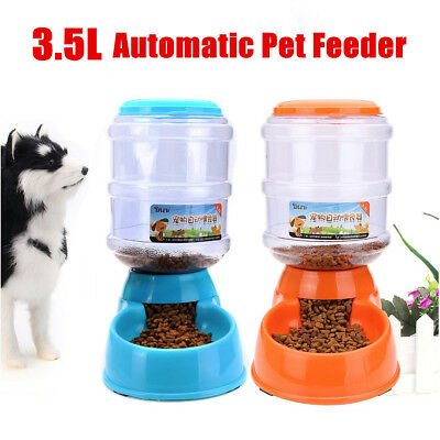 AU Large Automatic Pet Food Drink Dispenser Dog Cat Feeder Water Bowl Dish 3.5L