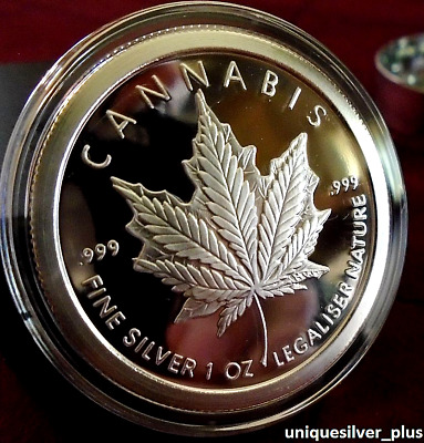 2014 Silver Shield CANNABIS Proof Medallion w/COA #197/1000 and Display case