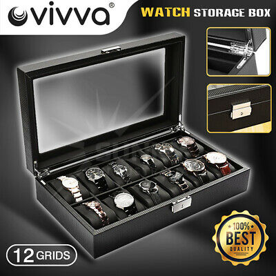 12 Grids Carbon Fiber Watch Gift Box Storage Case Jewelry Display Organizer