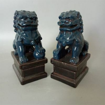 Chinese Old Pair Blue Glazed Porcelain Foo Dogs Statues